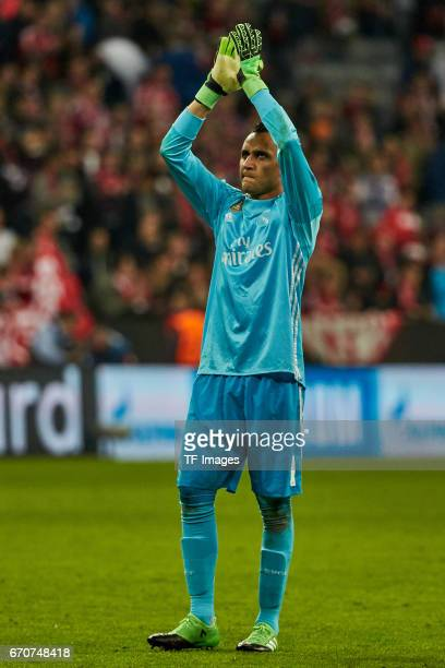 Goalkeeper Keylor Navas of Real Madrid celebrate their win after the UEFA Champions League Quarter Final first leg match between FC Bayern Muenchen...