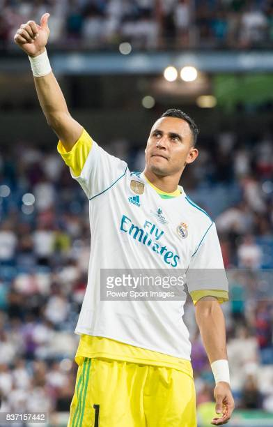 MADRID SPAIN AUGUST 16 Goalkeeper Keylor Navas of Real Madrid celebrates after their Supercopa de Espana Final 2nd Leg match between Real Madrid and...