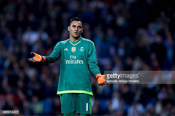 Goalkeeper Keylor Navas of Real Madrid CF reacts during the UEFA Champions League Group A match between Real Madrid CF and Paris SaintGermain at...