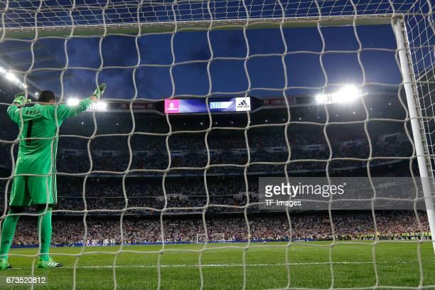 goalkeeper Keylor Navas of Real Madrid during the La Liga match between Real Madrid CF and FC Barcelona at the Santiago Bernabeu stadium on April 23...