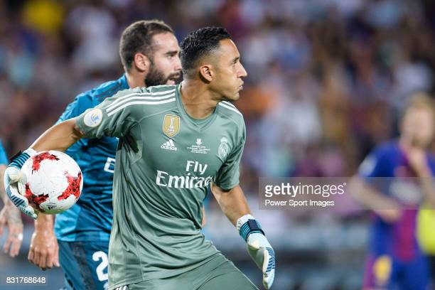 Goalkeeper Keylor Navas of Real Madrid during the Supercopa de Espana Final 1st Leg match between FC Barcelona and Real Madrid at Camp Nou on August...