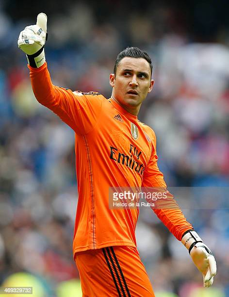 Goalkeeper Keylor Navas of Real Madrid gestures during the La Liga match between Real Madrid CF and Eibar at Estadio Santiago Bernabeu on April 11...