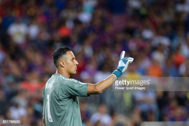 Goalkeeper Keylor Navas of Real Madrid gestures during the Supercopa de Espana Final 1st Leg match between FC Barcelona and Real Madrid at Camp Nou...