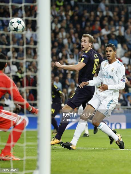 goalkeeper Keylor Navas of Real Madrid Harry Kane of Tottenham Hotspur FC Raphael Varane of Real Madrid 01 during the UEFA Champions League group H...