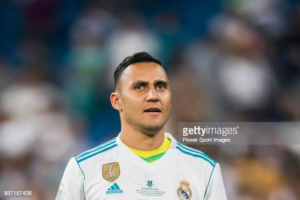 MADRID SPAIN AUGUST 16 Goalkeeper Keylor Navas of Real Madrid holds the trophy after winning the Supercopa de Espana Final 2nd Leg match between Real...