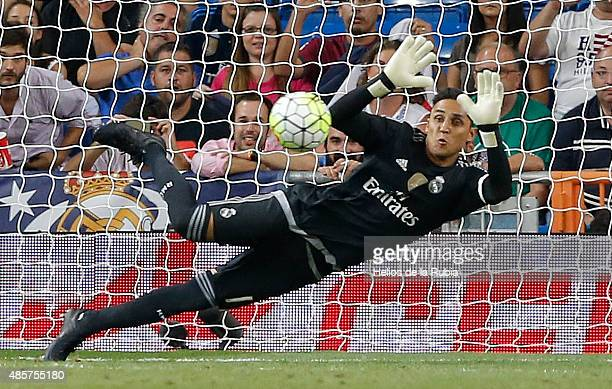 Goalkeeper Keylor Navas of Real Madrid in action during the La Liga match between Real Madrid CF and Real Betis Balompie at Estadio Santiago Bernabeu...