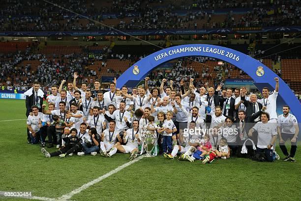 goalkeeper Keylor Navas of Real Madrid Raphael Varane of Real Madrid Pepe of Real Madrid Sergio Ramos of Real Madrid of Real Madrid Nacho of Real...