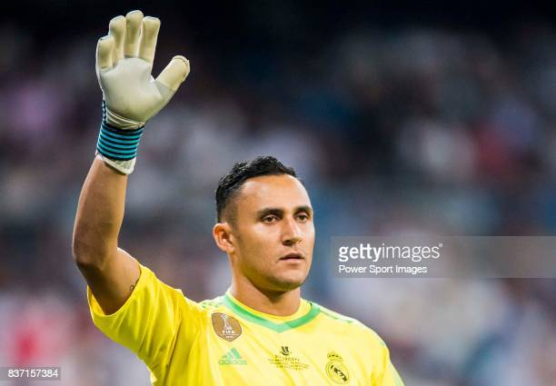 MADRID SPAIN AUGUST 16 Goalkeeper Keylor Navas of Real Madrid reacts during their Supercopa de Espana Final 2nd Leg match between Real Madrid and FC...