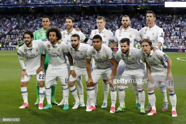 goalkeeper Keylor Navas of Real Madrid Sergio Ramos of Real Madrid Toni Kroos of Real Madrid Karim Benzema of Real Madrid Cristiano Ronaldo of Real...