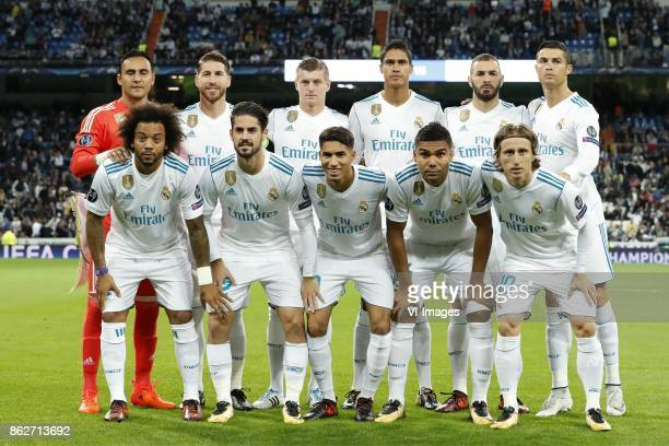 goalkeeper Keylor Navas of Real Madrid Sergio Ramos of Real Madrid Toni Kroos of Real Madrid Raphael Varane of Real Madrid Karim Benzema of Real...
