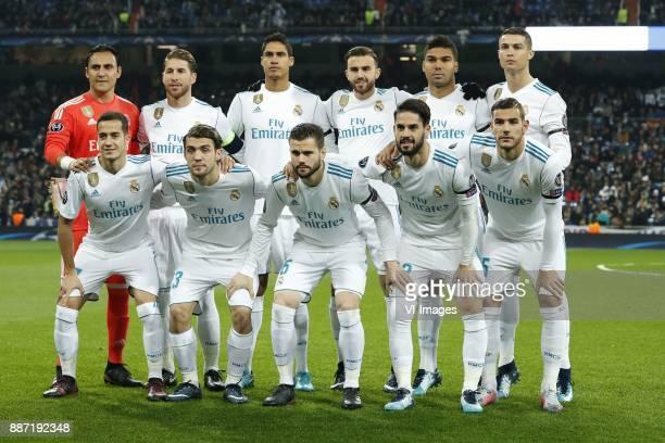 goalkeeper Keylor Navas of Real Madrid Sergio Ramos of Real Madrid Raphael Varane of Real Madrid Borja Mayoral of Real Madrid Casemiro of Real Madrid...