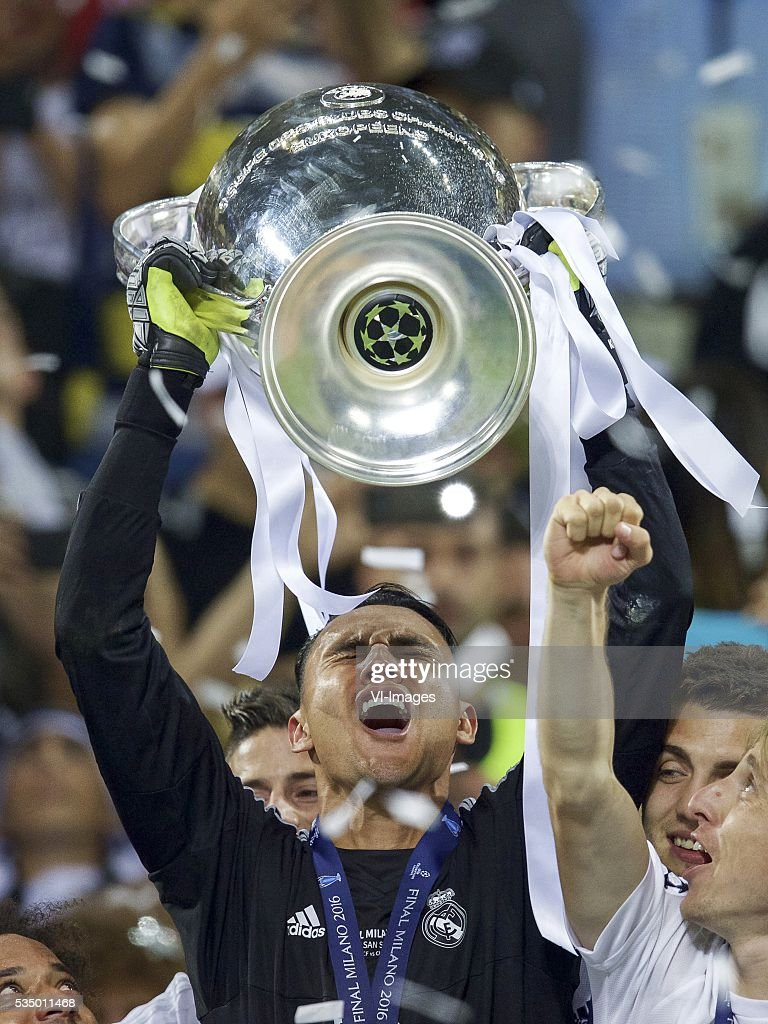 goalkeeper Keylor Navas of Real Madrid with Champions League trophy, Coupe des clubs Champions Europeeens during the UEFA Champions League final match between Real Madrid and Atletico Madrid on May 28, 2016 at the Giuseppe Meazza San Siro stadium in Milan, Italy.