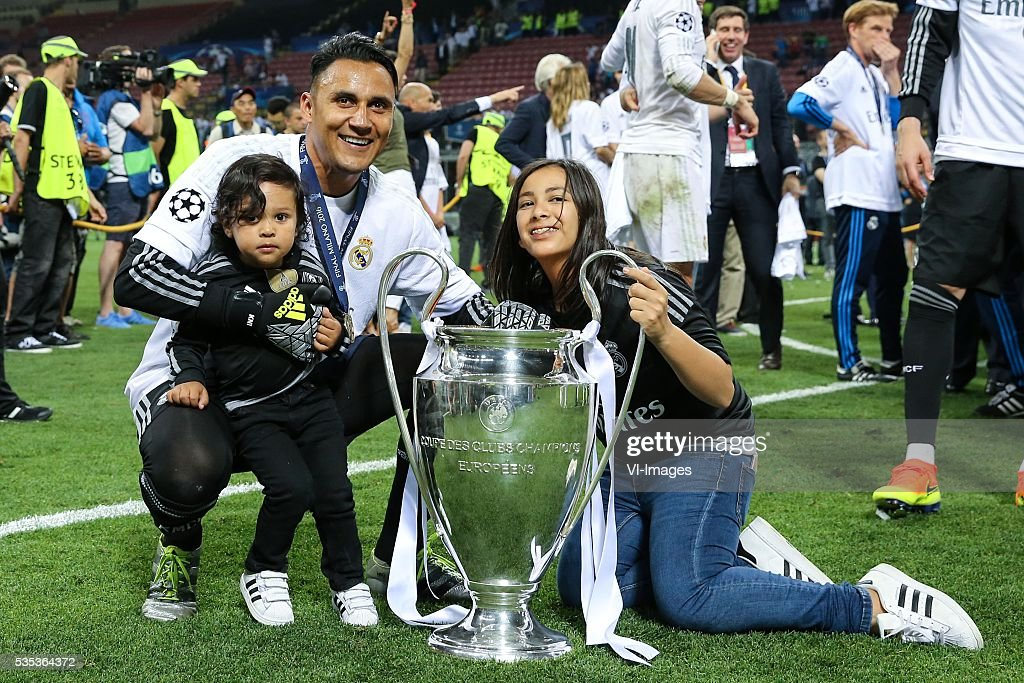 goalkeeper Keylor Navas of Real Madrid with his kids during the UEFA Champions League final match between Real Madrid and Atletico Madrid on May 28, 2016 at the Giuseppe Meazza San Siro stadium in Milan, Italy.