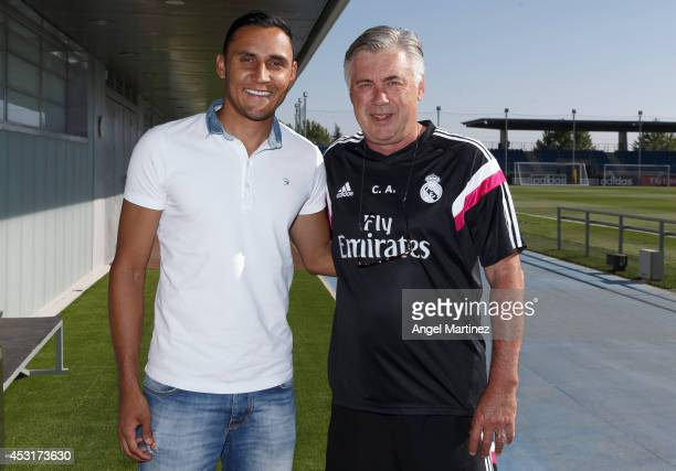 Goalkeeper Keylor Navas poses with head coach Carlo Ancelotti before his official unveiling as a new Real Madrid player at Valdebebas training ground...
