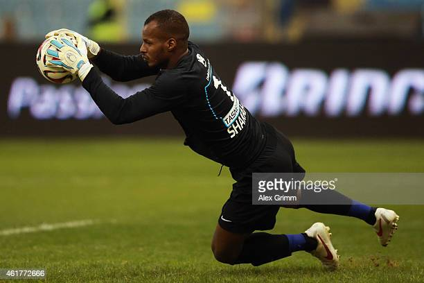 Goalkeeper Khalid Mohammed I Sharahili of AlHilal makes a save during the friendly match between Al Hilal and Bayern Muenchen on January 17 2015 in...