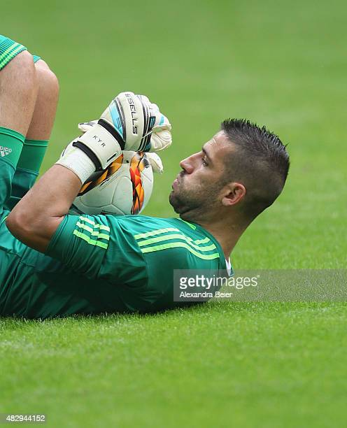 Goalkeeper Kiko Casilla of Real Madrid keeps the ball during the semi final match of the Audi Cup between Real Madrid and Tottenham Hotspur at...