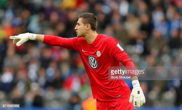 Goalkeeper Koen Casteels of VfL Wolfsburg gestures during the Bundesliga match between Hertha BSC and VfL Wolfsburg at Olympiastadion on April 22...