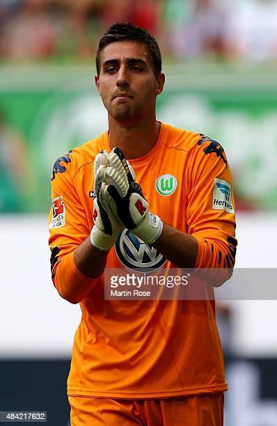 Goalkeeper Koen Casteels of VfL Wolfsburg is seen during the Bundesliga match between VfL Wolfsburg and Eintracht Frankfurt at Volkswagen Arena on...