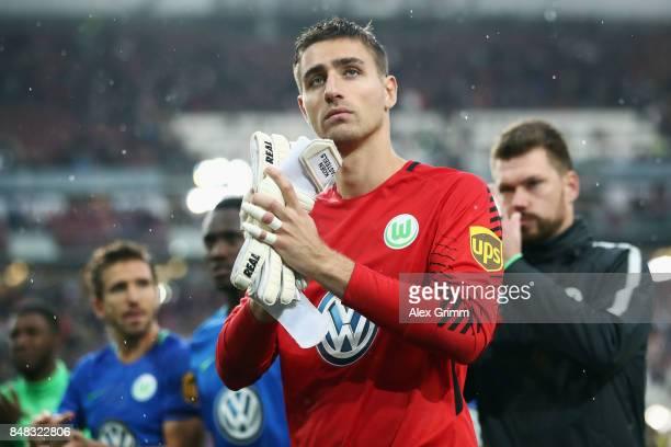 Goalkeeper Koen Casteels of Wolfsburg reacts after the Bundesliga match between VfB Stuttgart and VfL Wolfsburg at MercedesBenz Arena on September 16...