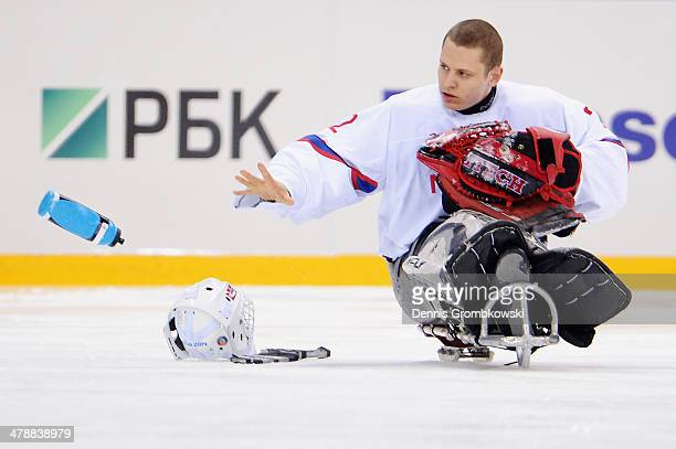 Goalkeeper Kristian Buen of Norway reacts during the ice sledge hockey bronze medal game between Canada and Norway at the Shayba Arena during day...