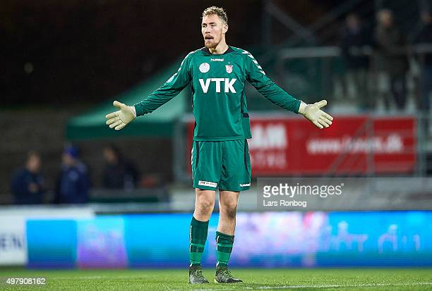 Goalkeeper Kristian Faste of Vejle Boldklub shows frustration during the Danish 1th Division Bet25 Liga match between Lyngby Boldklub and Vejle...