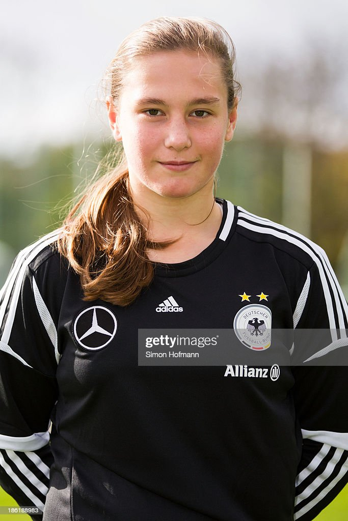 Goalkeeper Kristin Kosel of Germany poses during the German Girls U15 national team presentation at Wiener Ring training ground on October 29, 2013 in Offenbach, Germany.