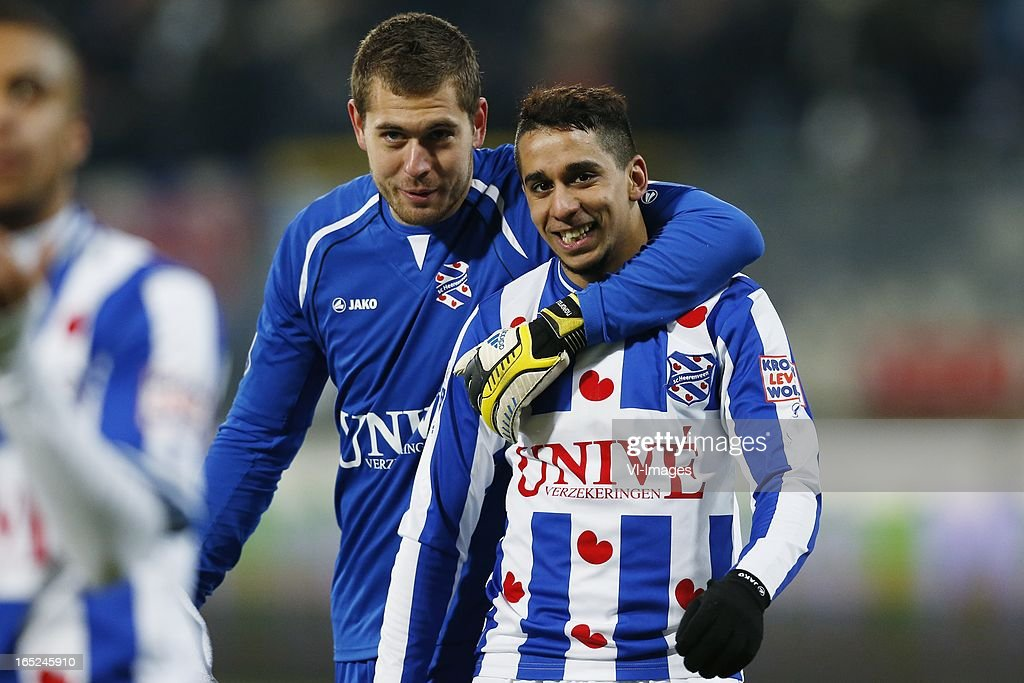 goalkeeper Kristoffer Nordfeldt of Heerenveen,Yassine El Ghanassy of Heerenveen during the Dutch Eredivisie match between SC Heerenveen and Feyenoord at the Abe Lenstra Stadium on march 30, 2013 in Heerenveen, The Netherlands