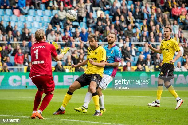 goalkeeper Lars Unnerstal of VVV Ralf Seuntjens of VVV Tim Matavz of Vitesse during the Dutch Eredivisie match between Vitesse Arnhem and VVV Venlo...