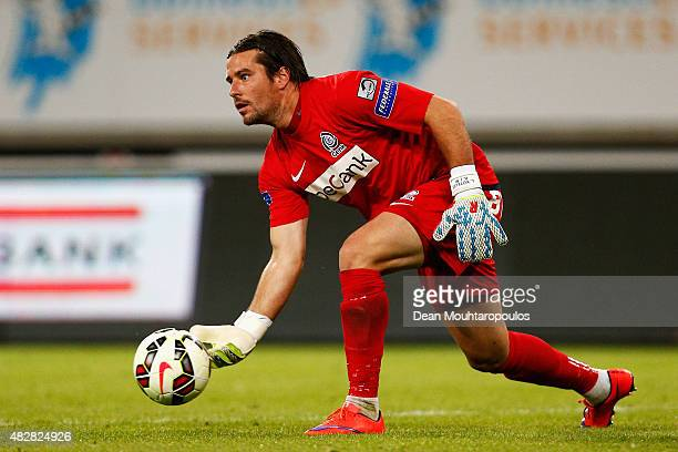 Goalkeeper Laszlo Koteles of Genk in action during the Jupiler League match between KAA Gent and KRC Genk held at the Ghelamco Arena on July 31 2015...