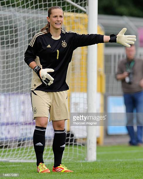 Goalkeeper Laura Benkarth of Germany looks on during the women's U20 international friendly match between Germany and Norway at stadium Am...