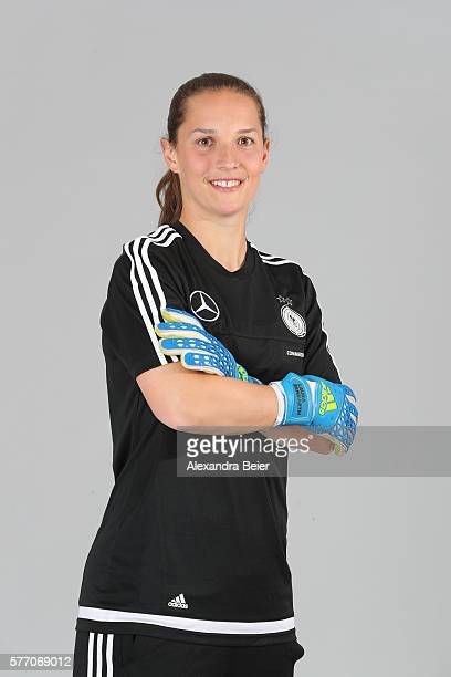Goalkeeper Laura Benkarth of the German women's national football team poses during the team presentation on June 21 2016 in Grassau Germany
