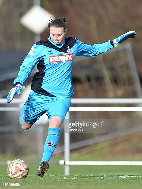 Goalkeeper Lena Nuding of Koeln kicks the ball during the Women's Second Bundesliga match between Bayern Muenchen II and 1 FC Koeln at Sportpark...