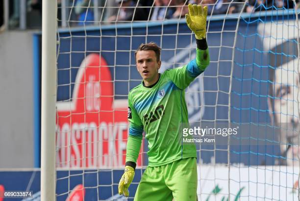 Goalkeeper Leopold Zingerle of Magdeburg gestures during the third league match between FC Hansa Rostock and 1FC Magdeburg at Ostseestadion on April...