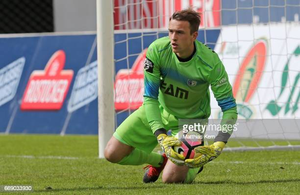 Goalkeeper Leopold Zingerle of Magdeburg looks on during the third league match between FC Hansa Rostock and 1FC Magdeburg at Ostseestadion on April...