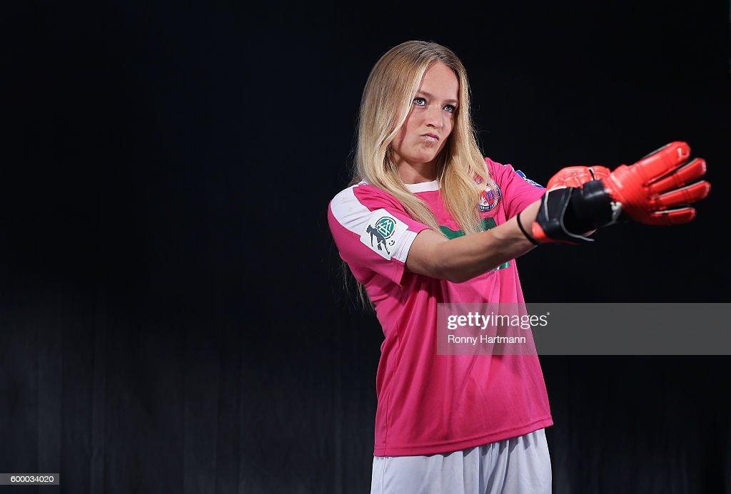 Goalkeeper Lisa Schmitz of Potsdam during the Allianz Women's Bundesliga Club Tour on September 7, 2016 in Potsdam, Germany.