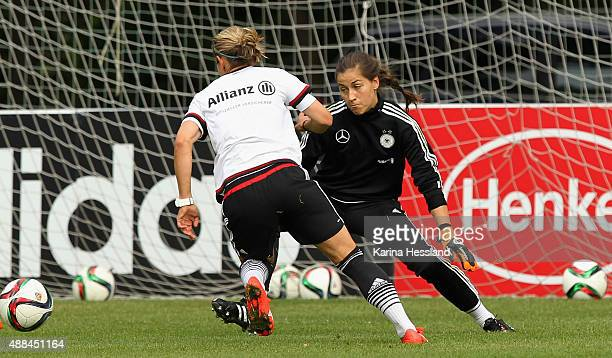 Goalkeeper Lisa Weiss in action during the training on September 16 2015 in Leipzig Germany