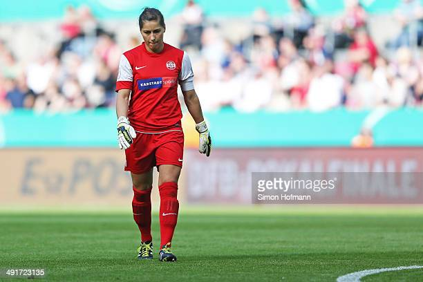 Goalkeeper Lisa Weiss of Essen reacts during the Women's DFB Cup Final between SGS Essen and 1 FFC Frankfurt at RheinEnergieStadion on May 17 2014 in...
