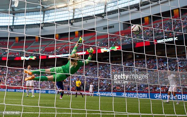 Goalkeeper Loes Geurts of the Netherlands fails to stop the shot of Mizuho Sakaguchi of Japan resulting in a goal during the FIFA Women's World Cup...