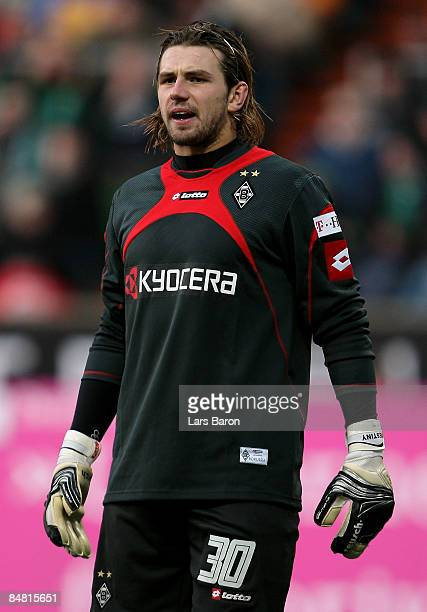 Goalkeeper Logan Bailly of Moenchengladbach during the Bundesliga match between Werder Bremen and Borussia Moenchengladbach at the Weser stadium on...