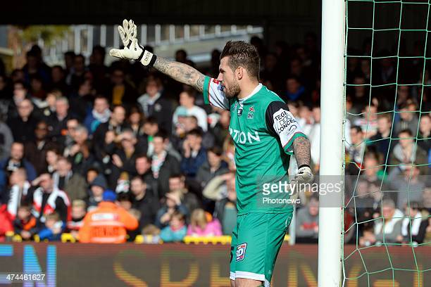 Goalkeeper Logan Bailly of OH Leuven during the Jupiler League match between OudHeverlee Leuven and Club Brubbe KV at Den Dreef stadium on February...