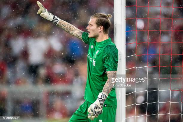 Goalkeeper Loris Karius of Liverpool FC gestures during the Audi Cup 2017 match between Bayern Muenchen and Liverpool FC at Allianz Arena on August 1...