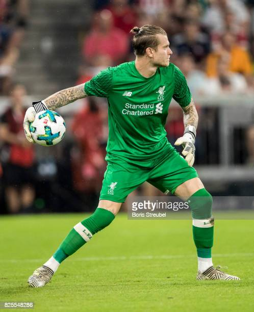 Goalkeeper Loris Karius of Liverpool FC in action during the Audi Cup 2017 match between Bayern Muenchen and Liverpool FC at Allianz Arena on August...