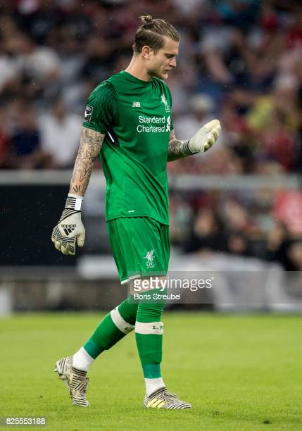Goalkeeper Loris Karius of Liverpool FC reacts during the Audi Cup 2017 match between Bayern Muenchen and Liverpool FC at Allianz Arena on August 1...