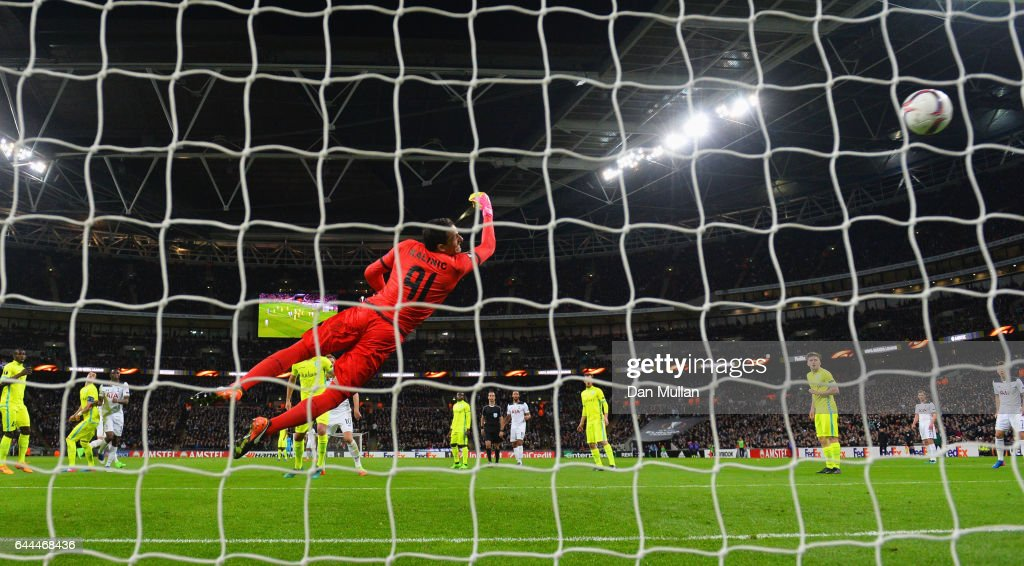 Goalkeeper Lovre Kalinic of Gent fails to stop Victor Wanyama of Tottenham Hotspur from scoring their second goal during the UEFA Europa League Round of 32 second leg match between Tottenham Hotspur and KAA Gent at Wembley Stadium on February 23, 2017 in London, United Kingdom.