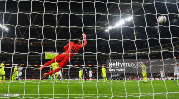 Goalkeeper Lovre Kalinic of Gent fails to stop Victor Wanyama of Tottenham Hotspur from scoring their second goal during the UEFA Europa League Round...