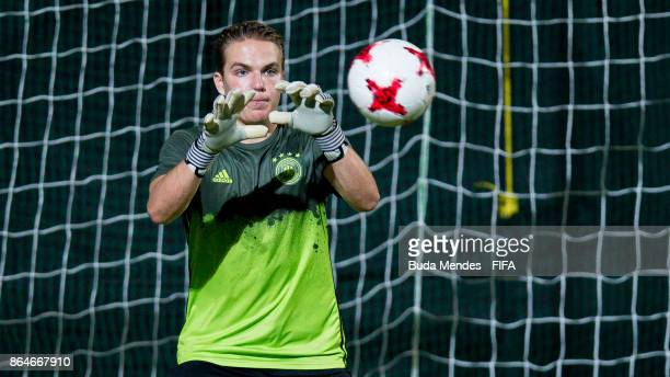 Goalkeeper Luca Plogmann of Germany in action during the training session a day before the FIFA U17 World Cup India 2017 Quarter Final match between...
