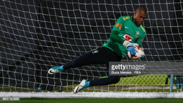Goalkeeper Lucao of Brazil in action during their training session ahead of the FIFA U17 World Cup India 2017 tournament at Kolkata 2 Training Centre...