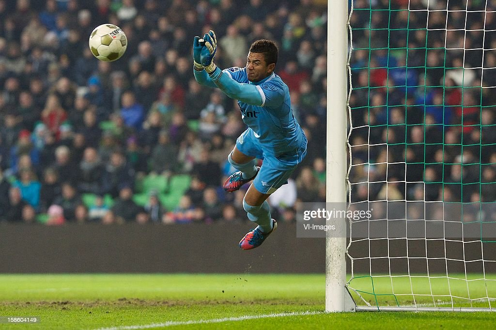 goalkeeper Luciano da Silva of FC Groningen during the Dutch Cup match between FC Groningen and Ajax Amsterdam at the Euroborg on December 20, 2012 in Groningen, The Netherlands.