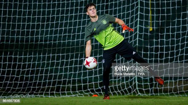 Goalkeeper Luis Klatte of Germany in action during the training session a day before the FIFA U17 World Cup India 2017 Quarter Final match between...