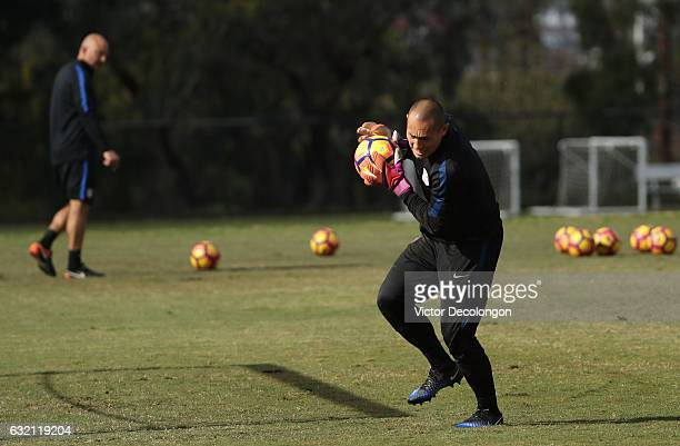 Goalkeeper Luis Robles catches the ball during the USMNT training session at StubHub Center on January 19 2017 in Carson California